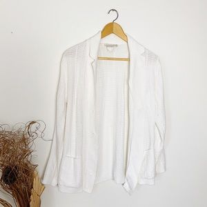 Vintage White Collar Knit Pearl Button Cardigan